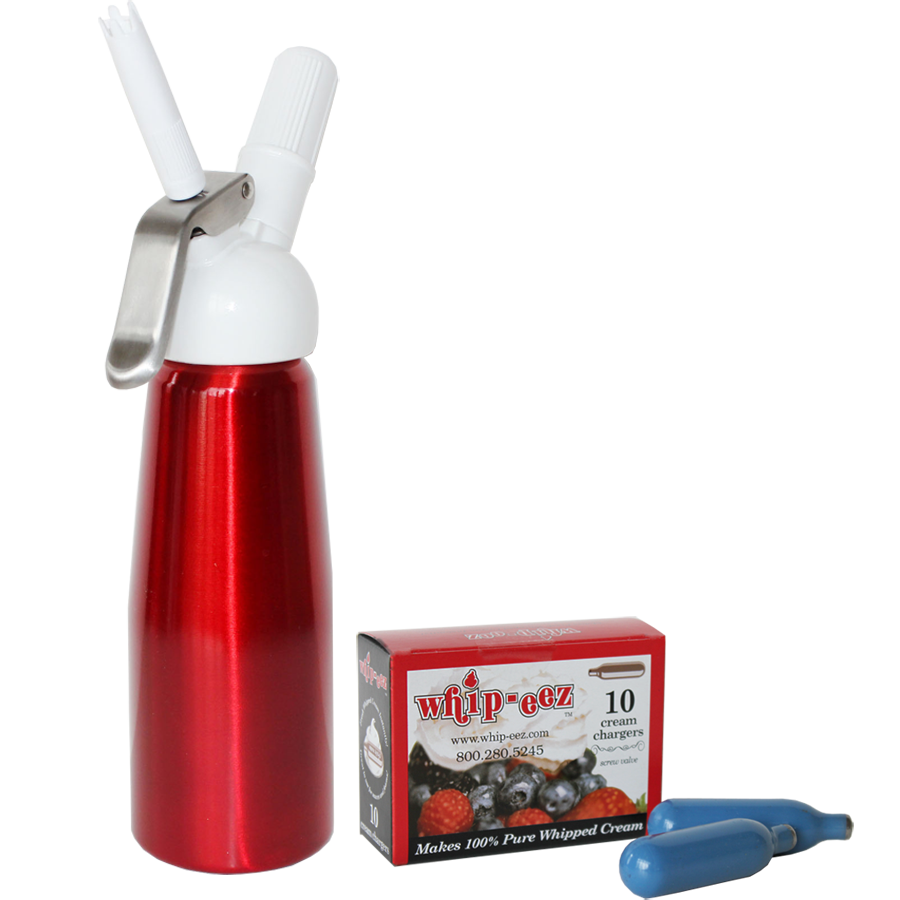 Red 1/2 liter whip cream dispenser w/free 10 pk chargers