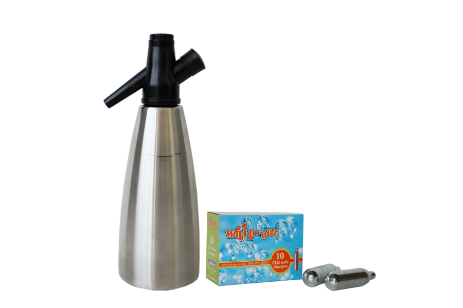 1 Liter Stainless Steel Soda Siphon w/ Free 10 pk of Co2 Soda Chargers