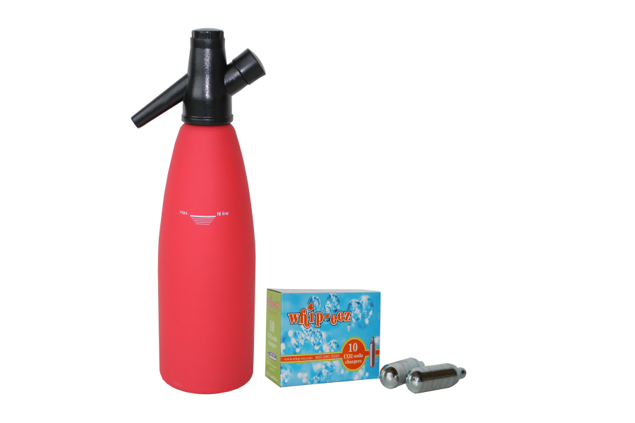 1 Liter Red Rubber Coated Soda Siphon w/ Free 10 pack of Co2 Soda Chargers