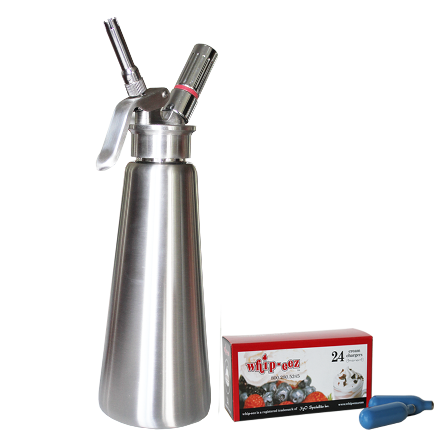 1 Liter Stainless Steel Whipped Cream Dispenser w/ Stainless & One Piece Tips w/ Free N2o 24 Pack
