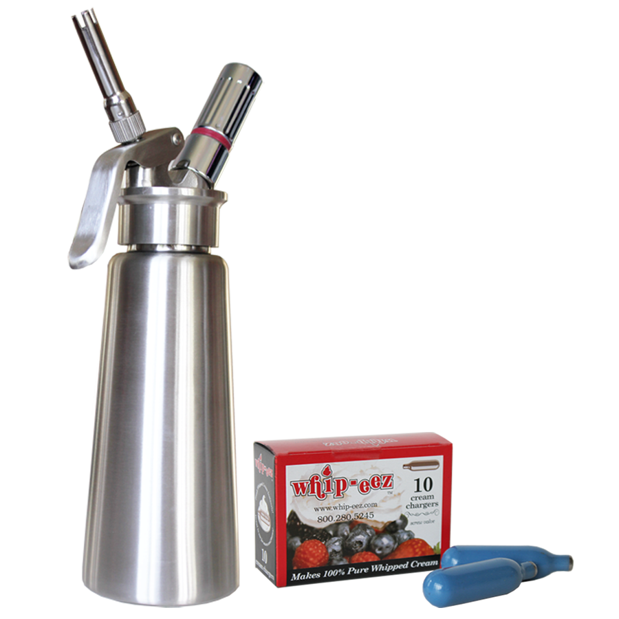 1/2 Liter Stainless Steel Whipped Cream Dispenser w/ Stainless & One Piece Tips w/ Free N2o 10 Pk